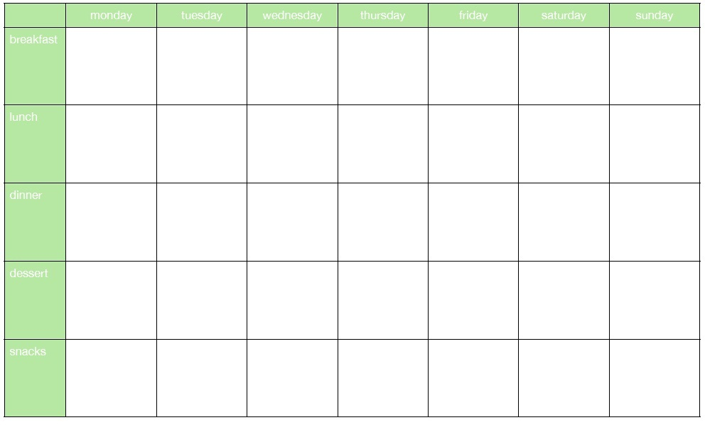 Luxury Weekly Meal Planner Template with Snacks | Aguakatedigital