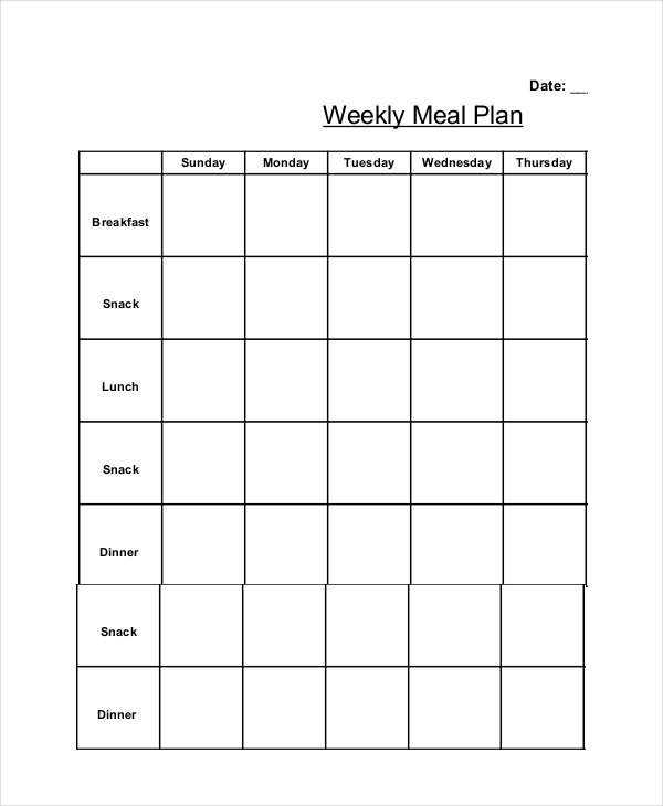 Printable Weekly Meal Planner Template with SnacksKitty Baby Love