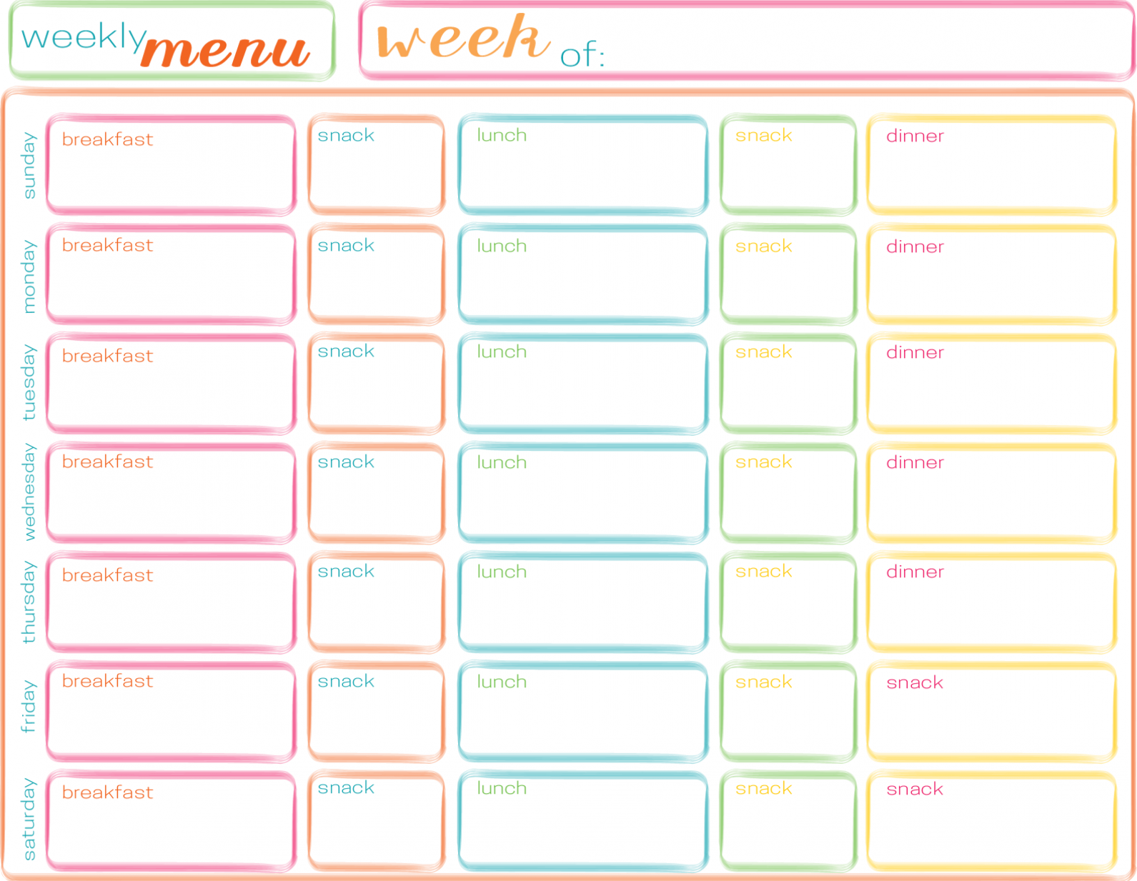 Weekly Meal Plan with Breakfast, Lunch, Dinner and Snacks The