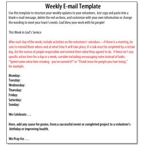 Volunteer Management Weekly Update Template