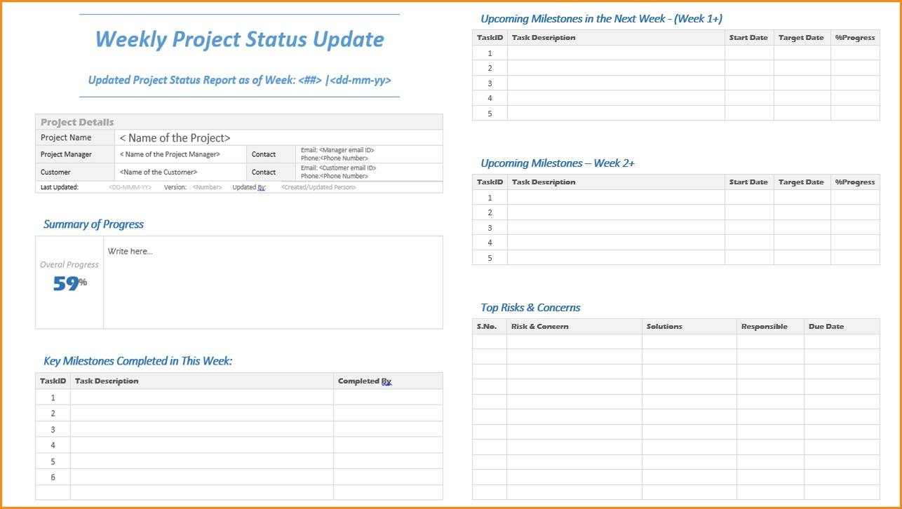 Weekly Update Template Weekly Project Status Update Png Loan