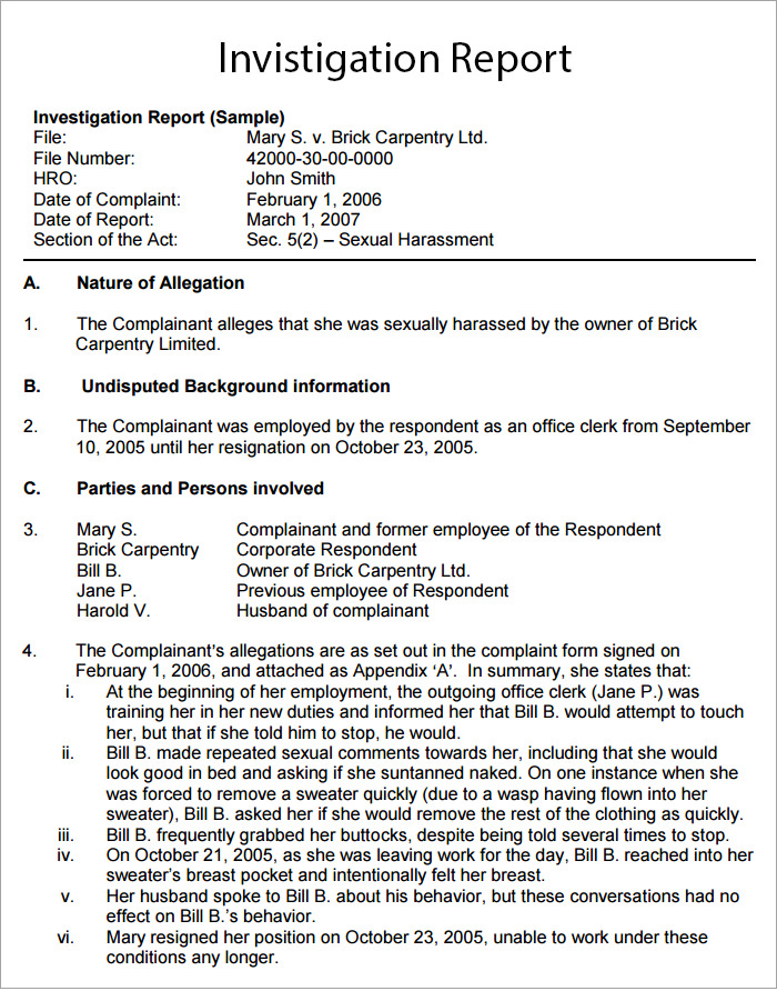 Hr Investigation Report Template (4) | Professional And High