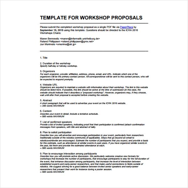 2 How To Write A Workshop Proposal PDF | Free & Premium Templates