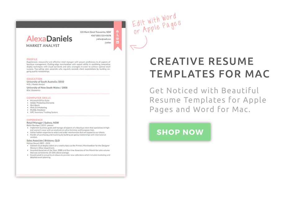 Creative Resume Templates for Mac & Apple Pages ٩(͡๏̯͡๏)۶ : Kukook