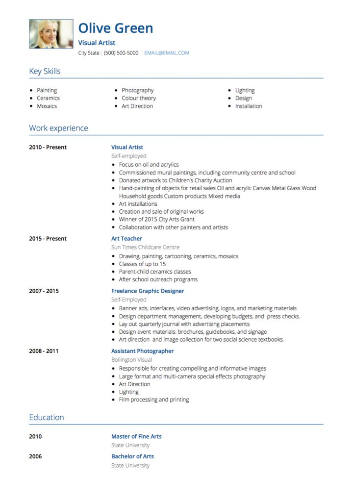 Artist CV Examples & Templates | VisualCV