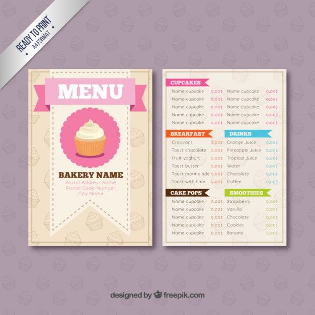 Bakery menu template | Free Downloads | Pinterest | Bakery menu