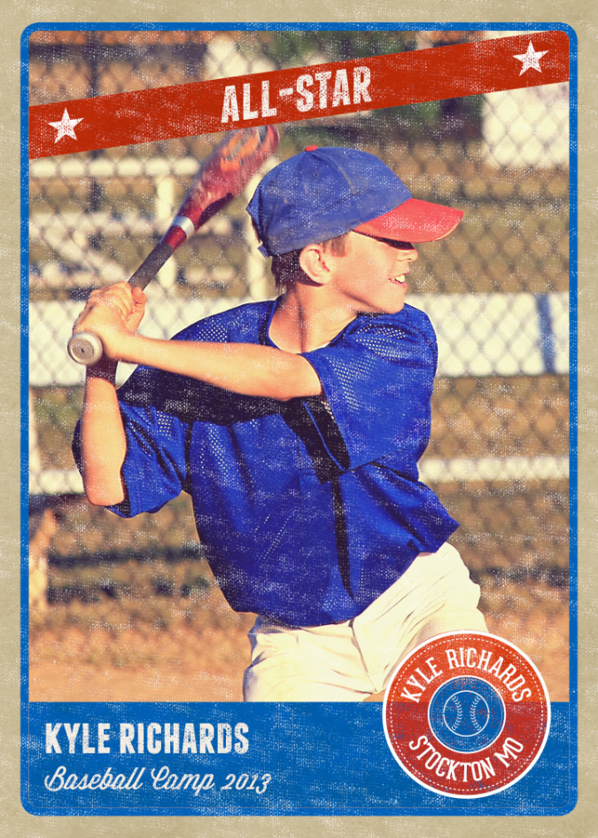 Photography Photo Card Template: Retro Sports Baseball Card Inspired