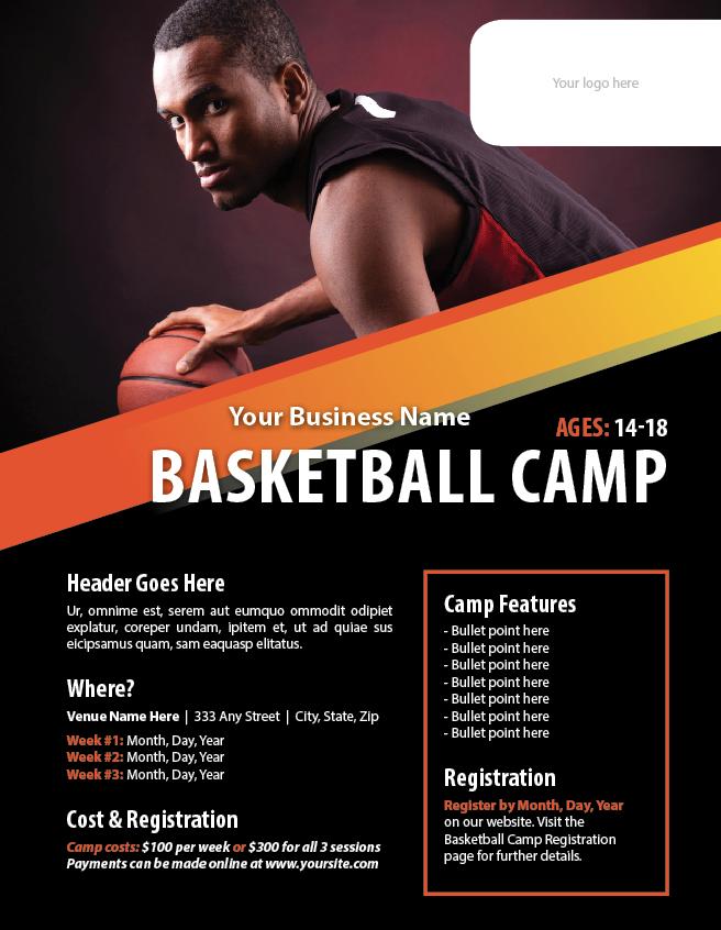basketball camp brochure template basketball camp flyer template