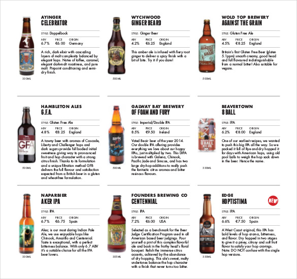 20+ Beer Menu Templates – Free Sample, Example Format Download