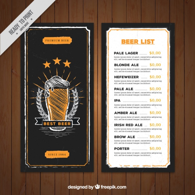 Hand drawn beer menu template in retro style Vector | Free Download