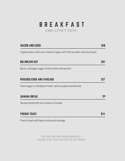 Breakfast Menu Templates by Canva