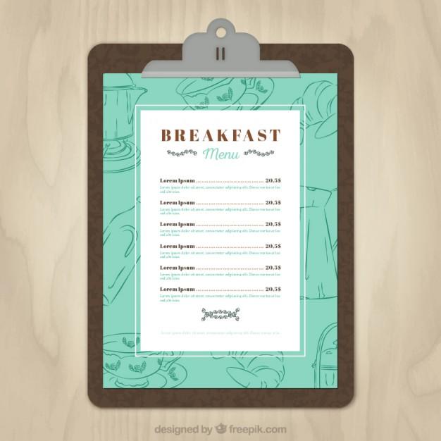 Breakfast menu template Vector | Free Download