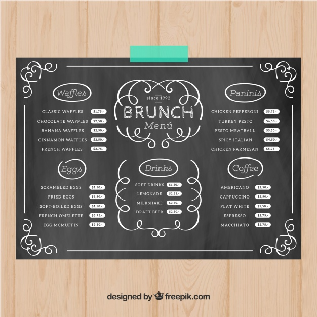 Brunch menu template in chalk style Vector | Free Download
