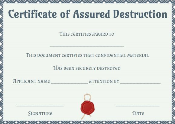 Certificate Of Destruction Templates 10+ Free PDF Format