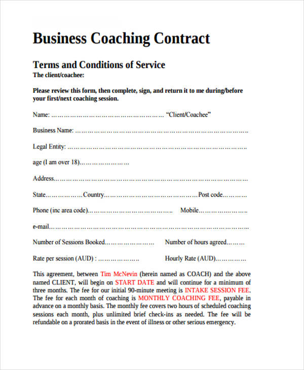 8+ Coaching Contract Templates Free Sample, Example Format