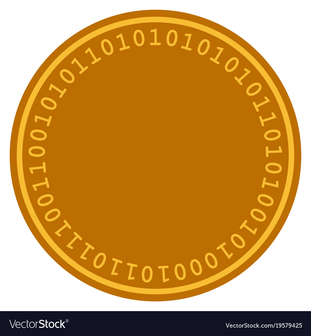 Digital coin template flat icon Royalty Free Vector Image