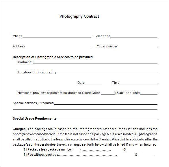 7 Commercial Photography Contract Templates Free Word Pdf | Sample