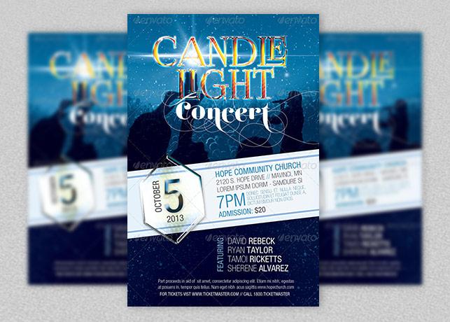 Candle Light Concert Flyer Template   Godserv Market