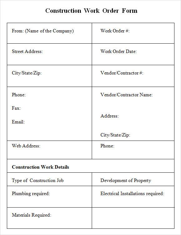 6+ Sample Construction Work Order Forms PDF
