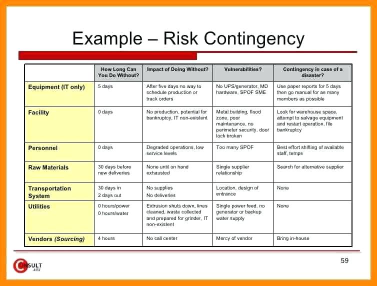 Contingency Plan Template For A Small Business Simple Example Risk