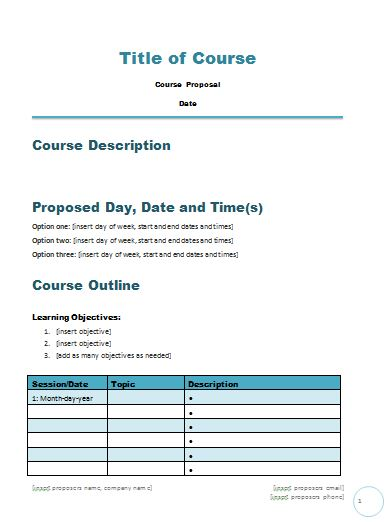 course proposal template free course proposal template career