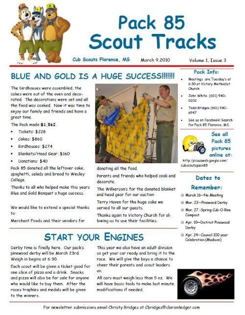 Cub Scout Newsletter Template   Attachments   Cub Scouts