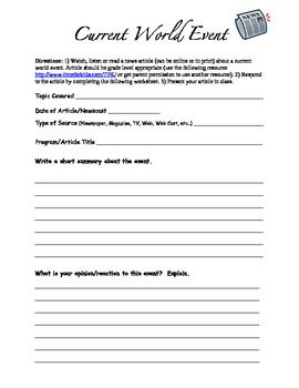 Current Event Template | middle school ESL reading | Pinterest