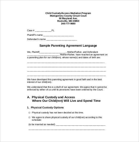Custody Agreement Template – 10+ Free Word, PDF Document Download