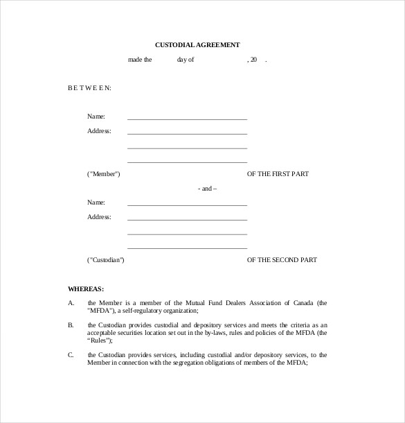 custody agreement template bank custody agreement 10 custody