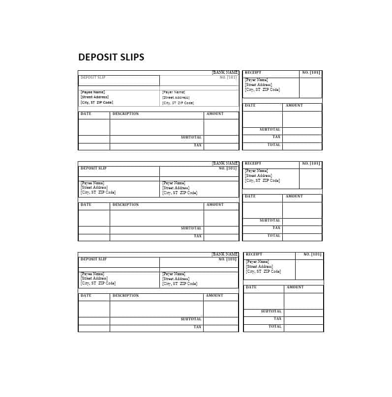 37 Bank Deposit Slip Templates & Examples Template Lab