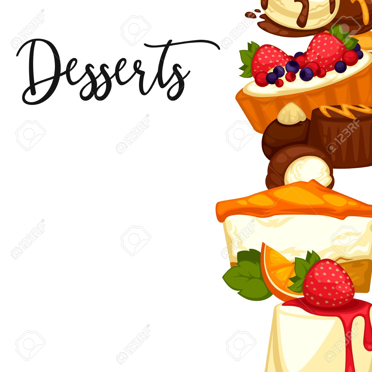 Delicious Sweet Dessert. Menu Template For Cafe Or Restaurant