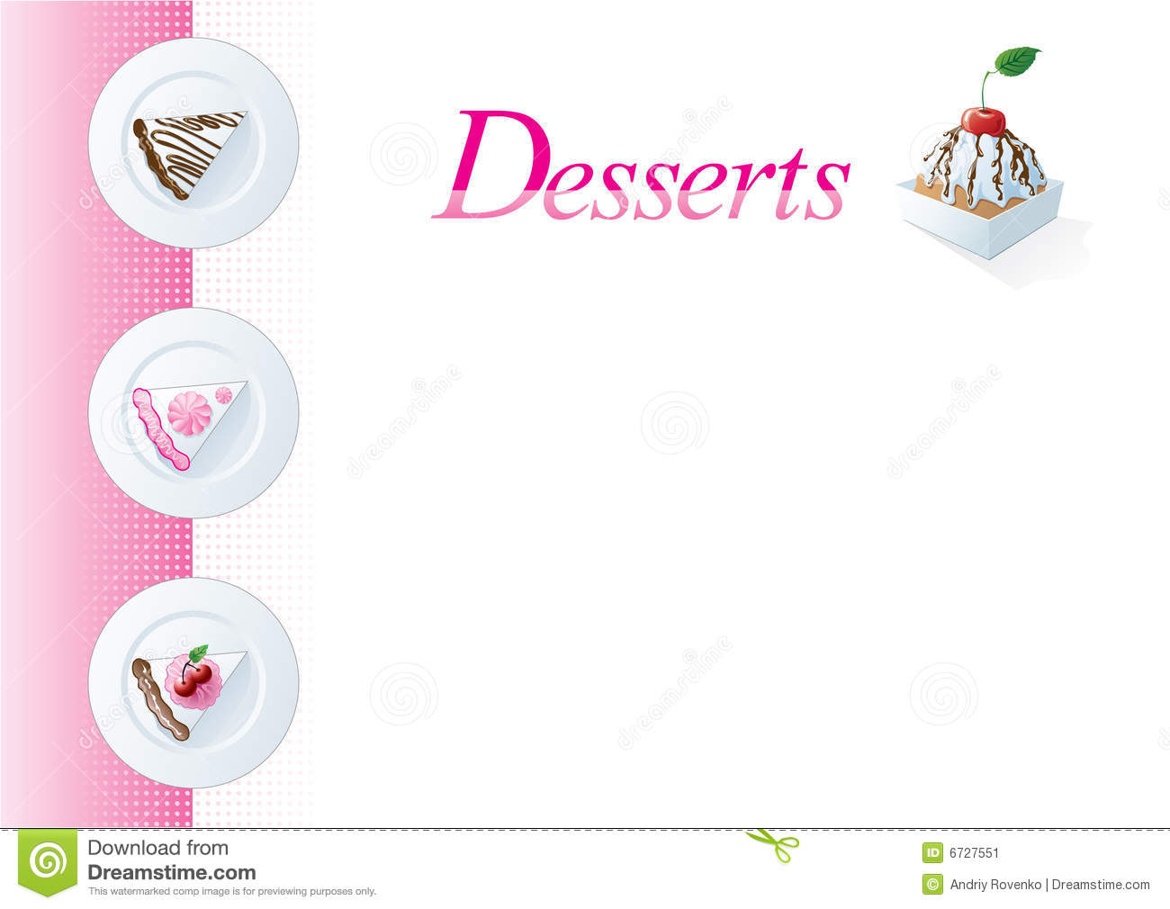 Dessert menu template stock vector. Illustration of sponge 6727551