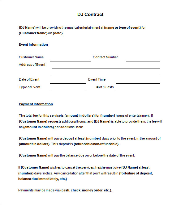 free dj contract template Narco.penantly.co