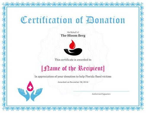 Printable Donation Certificates Templates
