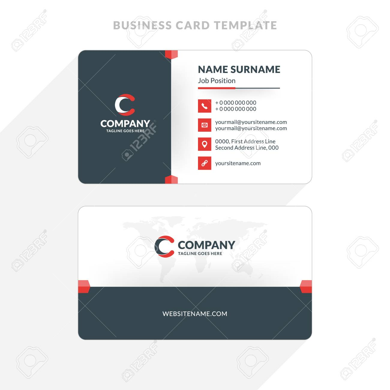 Creative And Clean Double sided Business Card Template. Red And