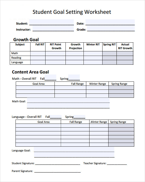 Goal Setting Template For Students Employee Goals Template