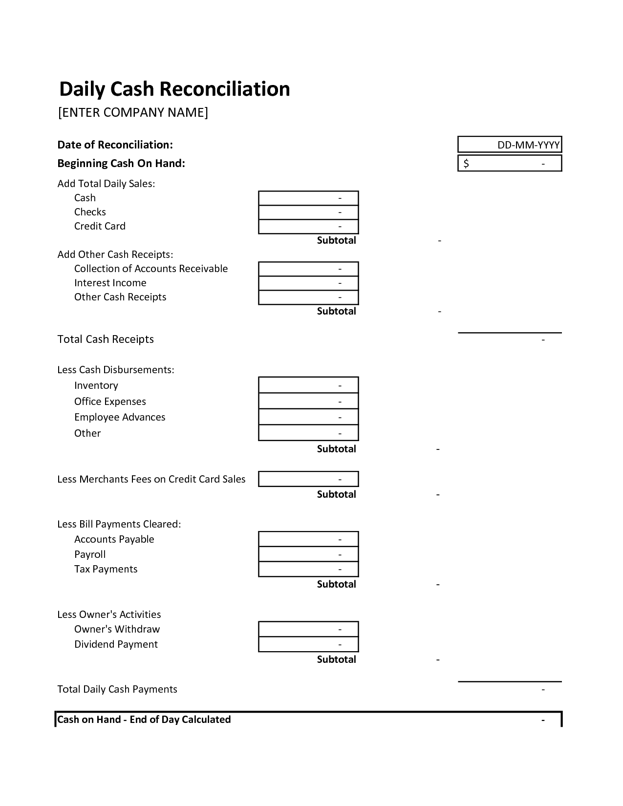 End Of Day Cash Register Report Template | Texas Vet