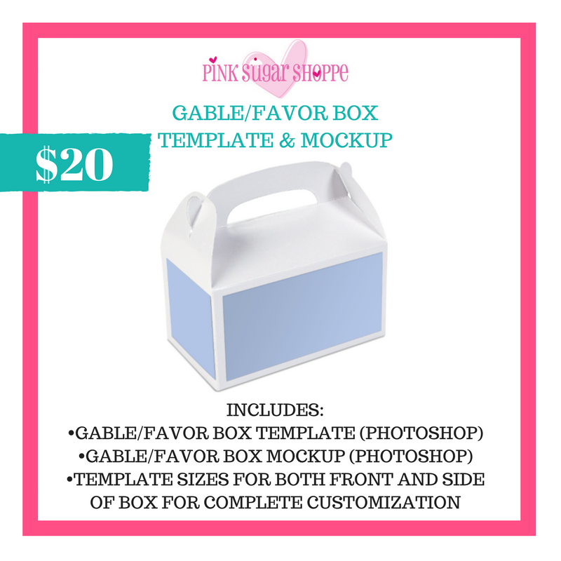 PINK SUGAR SHOPPE GABLE/FAVOR BOX LABEL TEMPLATE AND MOCKUP – Pink
