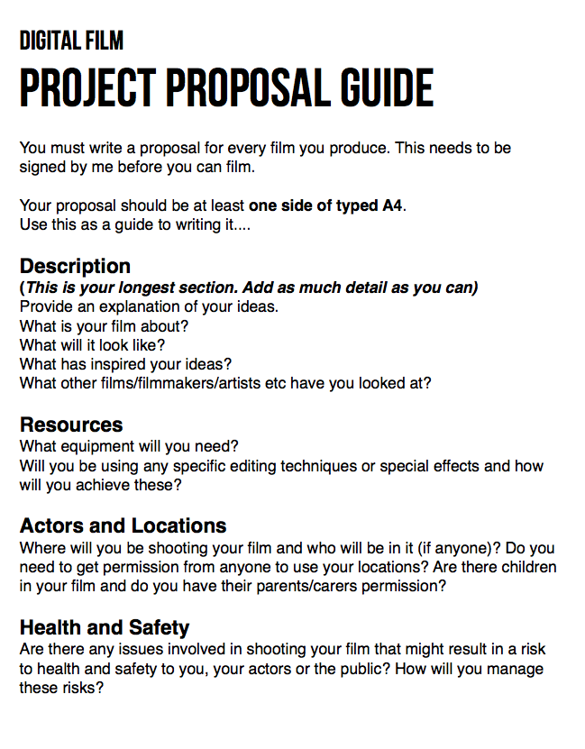 Guide for writing your film proposal © Anna Hawes | Filmmaking