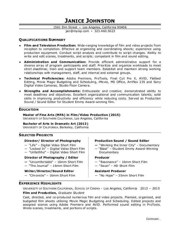 Film Production Resume Sample | Monster.com