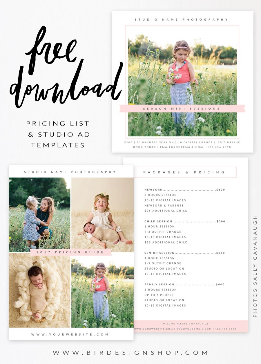 Free Pricing list & Studio Ad templates | Photography Lessons