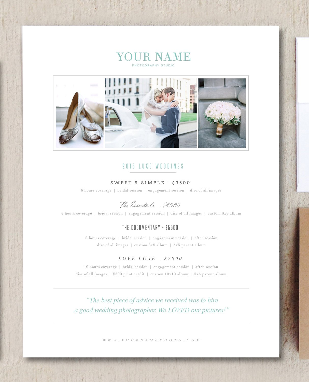 Free Pricing Guide Template Design for Wedding Photographers the