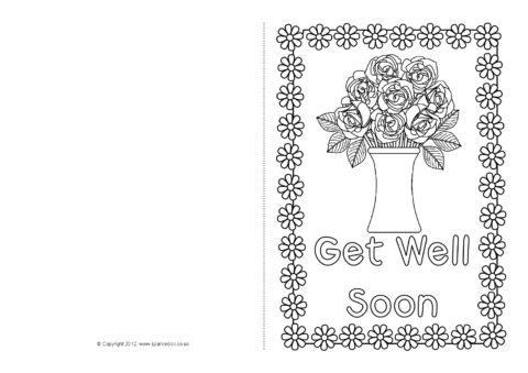 Get Well Soon Card Colouring Templates (SB8890) SparkleBox