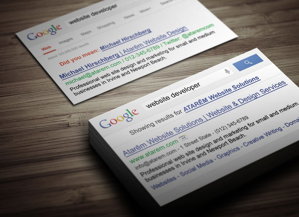Google Business Card Design Ready to Print