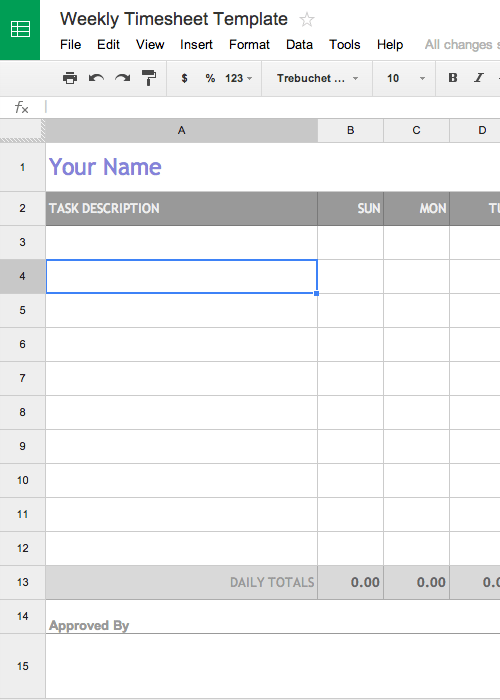 Free Weekly Timesheet Template for Google Docs AKA Timecard or
