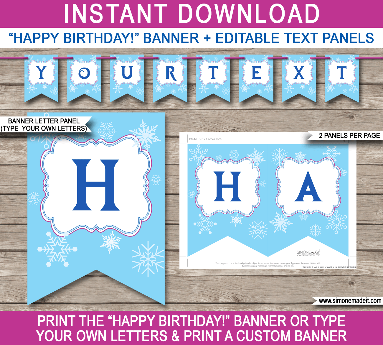 Happy Birthday Banner Printable Template Paper Trail Design