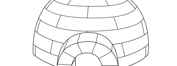 Igloo Coloring Page (Winter)