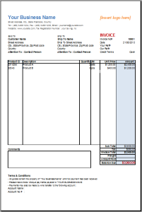 Basic Sales Invoice Template For OpenOffice | Invoice Template Gallery