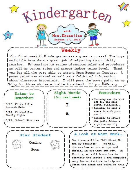 Printable Kindergarten Newsletter Template | Templates