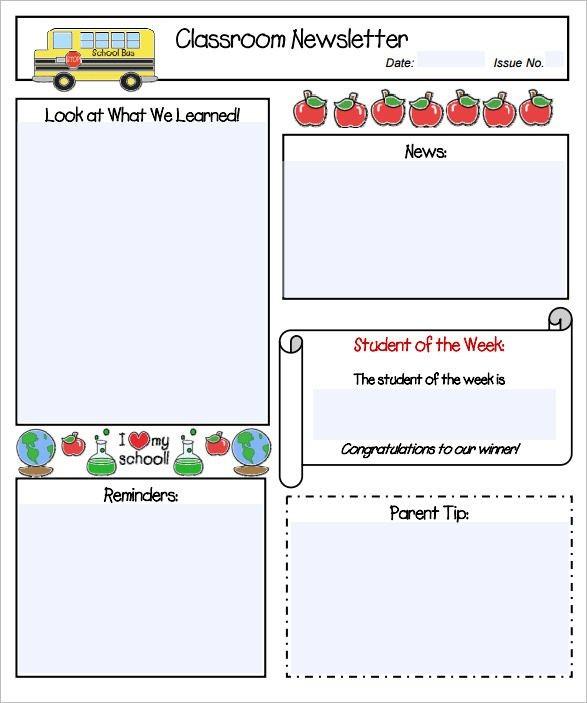 kindergarten newsletter template kindergarten newsletter templates